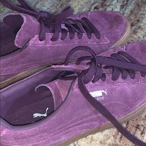Grape/Tan Suede Puma Sneakers